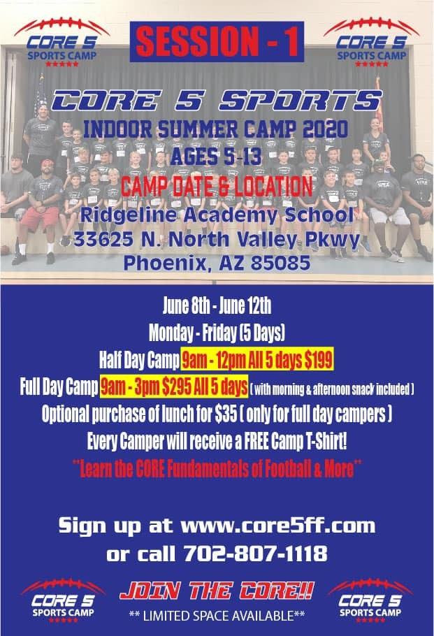 Core 5 Youth Flag Football Summer Camp Phoenix AZ